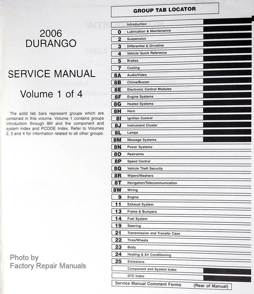 2006 dodge durango factory service manuals original shop repair rh factoryrepairmanuals com durango service manual 2006 durango service manual free 2004