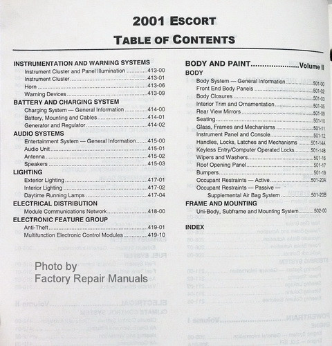 2001 Ford Escort and ZX-2 Factory Service Manual Set