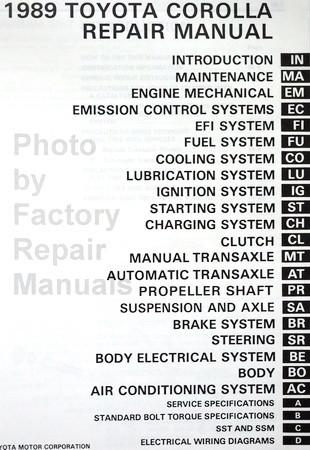 1989 toyota corolla factory service manual original shop repair rh factoryrepairmanuals com 1989 toyota corolla repair manual pdf 1989 Toyota Corolla SR5