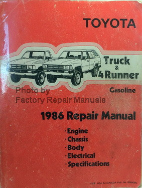 1986 toyota truck and 4runner factory service manual original shop rh factoryrepairmanuals com 1986 toyota truck shop manual 1987 Toyota Pickup