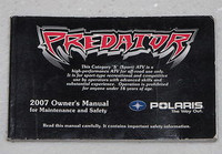 2007 POLARIS PREDATOR 500 Owners Manual ATV Quad Original Dealer Book 9920779