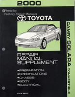 2000 Toyota Camry Solara Convertible Supplement