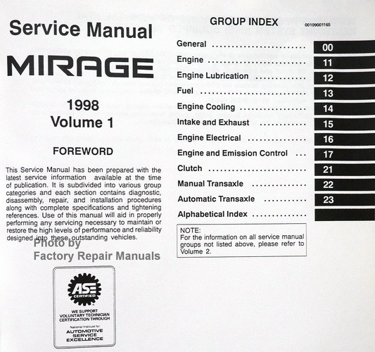 1998 mitsubishi mirage factory service manual set original shop rh factoryrepairmanuals com 00 Mitsubishi Mirage Body Kit 97 Mitsubishi Mirage with Body Kit