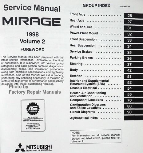 1998 mitsubishi mirage factory service manual set original shop rh factoryrepairmanuals com Custom 99 Mitsubishi Mirage Body Custom 99 Mitsubishi Mirage Body