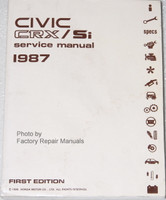 1987 Honda Civic CRX Si Factory Service Manual Original Shop Repair