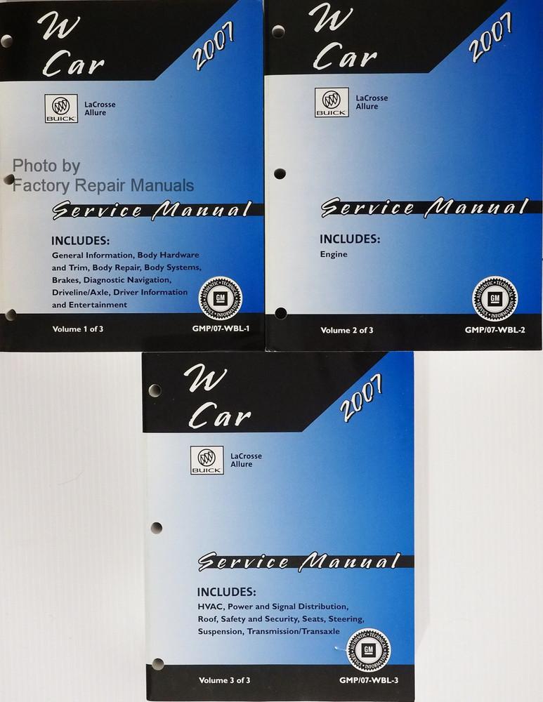 2007 buick lacrosse allure factory shop service manual 3 volume rh factoryrepairmanuals com Nissan UD 1800 Manual Honda 9Hp Engine Shop Manual
