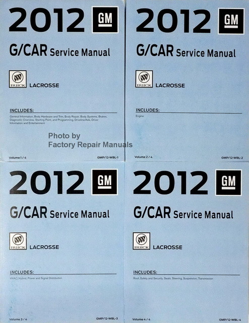 2012 buick lacrosse factory service manual set original shop repair rh factoryrepairmanuals com Honda 9Hp Engine Shop Manual WF328AAW XAA Service Manual