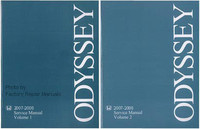 2007 2008 Honda Odyssey Factory Service Repair Manual - 2 Volume Set