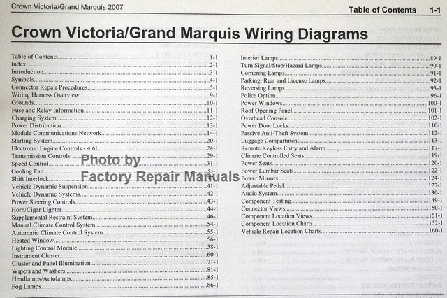 2007 Ford Crown Victoria And Mercury Grand Marquis Electrical Wiring Diagrams