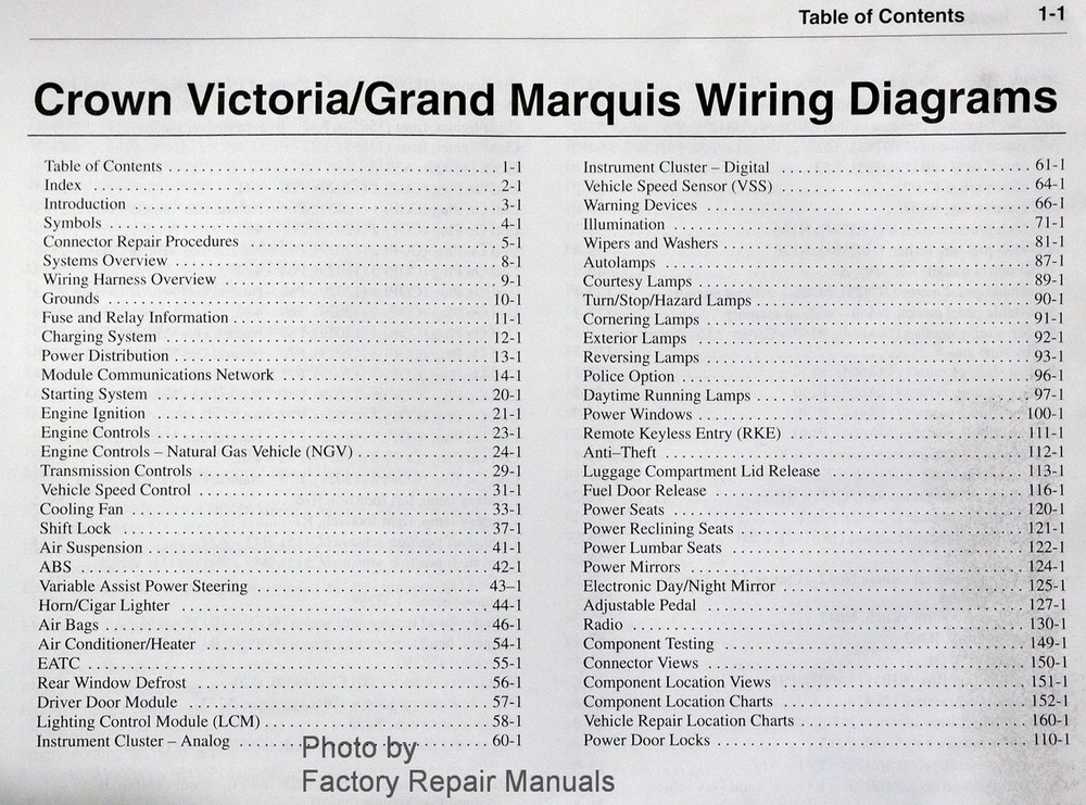 2002 Ford Crown Victoria      Mercury       Grand       Marquis    Electrical    Wiring    Diagrams  Factory Repair Manuals