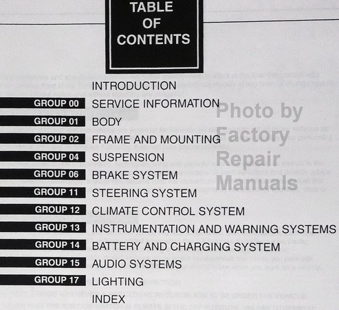 1997 Ford F250HD F350 F-Super Duty Service Manual Table of Contents Part 2