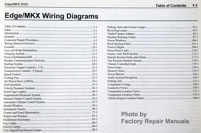 2009 ford edge lincoln mkx electrical wiring diagrams manual rh factoryrepairmanuals com 2008 ford edge repair manual Ford Factory Repair Manuals