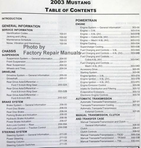 2003 ford mustang factory service manual original shop repair used rh factoryrepairmanuals com 1998 Cobra 2003 mustang cobra service manual pdf