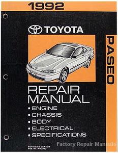 1992 toyota paseo factory service manual original shop repair rh factoryrepairmanuals com 1992 Toyota Paseo Parts 1992 Toyota Paseo Engine Diagram