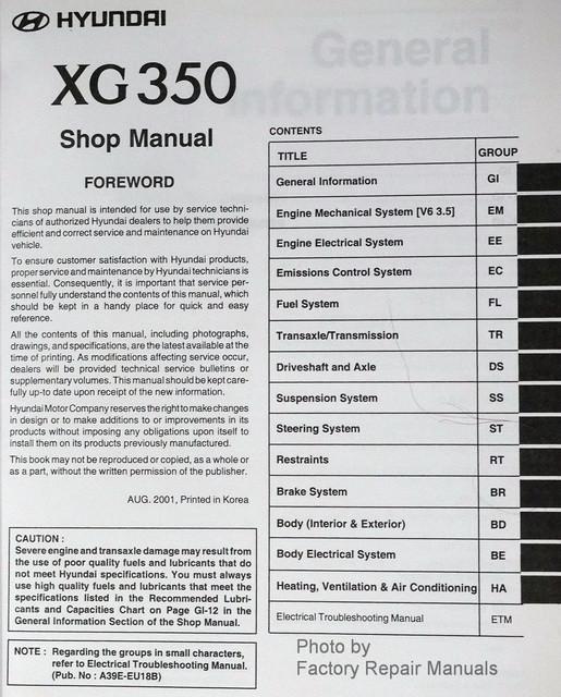 2002 2003 hyundai xg350 factory service manual original shop repair rh factoryrepairmanuals com 2003 hyundai xg350 owners manual Hyundai XG350 Parts Diagram