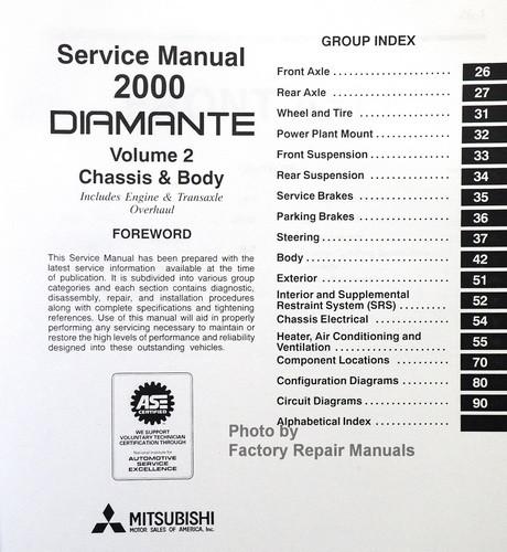 2000 mitsubishi diamante factory service manual set original shop rh factoryrepairmanuals com Repair Manuals saeco diamante service manual