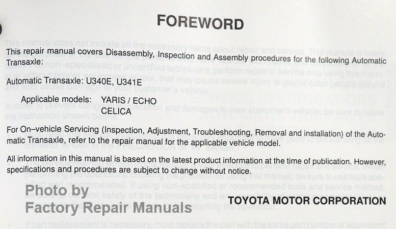 2000 2006 Celica  Echo  Xa  Xb Automatic Transmission Repair Manual U340e U341e
