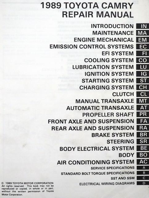 1989 toyota camry factory service manual original shop repair rh factoryrepairmanuals com 1989 toyota camry repair manual pdf 1989 toyota camry repair manual pdf