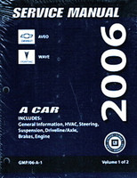 2006 Chevy Aveo, Pontiac Wave Factory Service Manual Set - Original Shop Repair