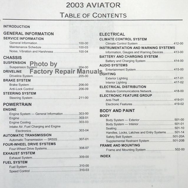 2003 lincoln aviator factory service manual original shop repair rh factoryrepairmanuals com Lincoln Aviator Engine Problems Lincoln Aviator Alternator Replacement