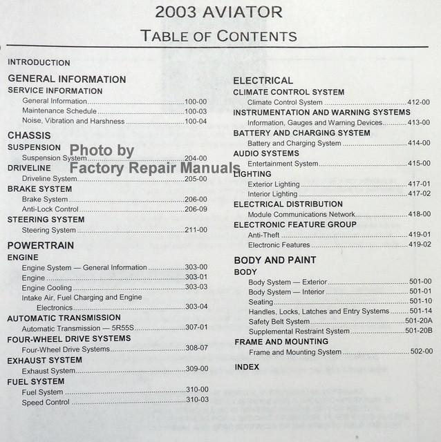 2003 lincoln aviator factory service manual original shop. Black Bedroom Furniture Sets. Home Design Ideas