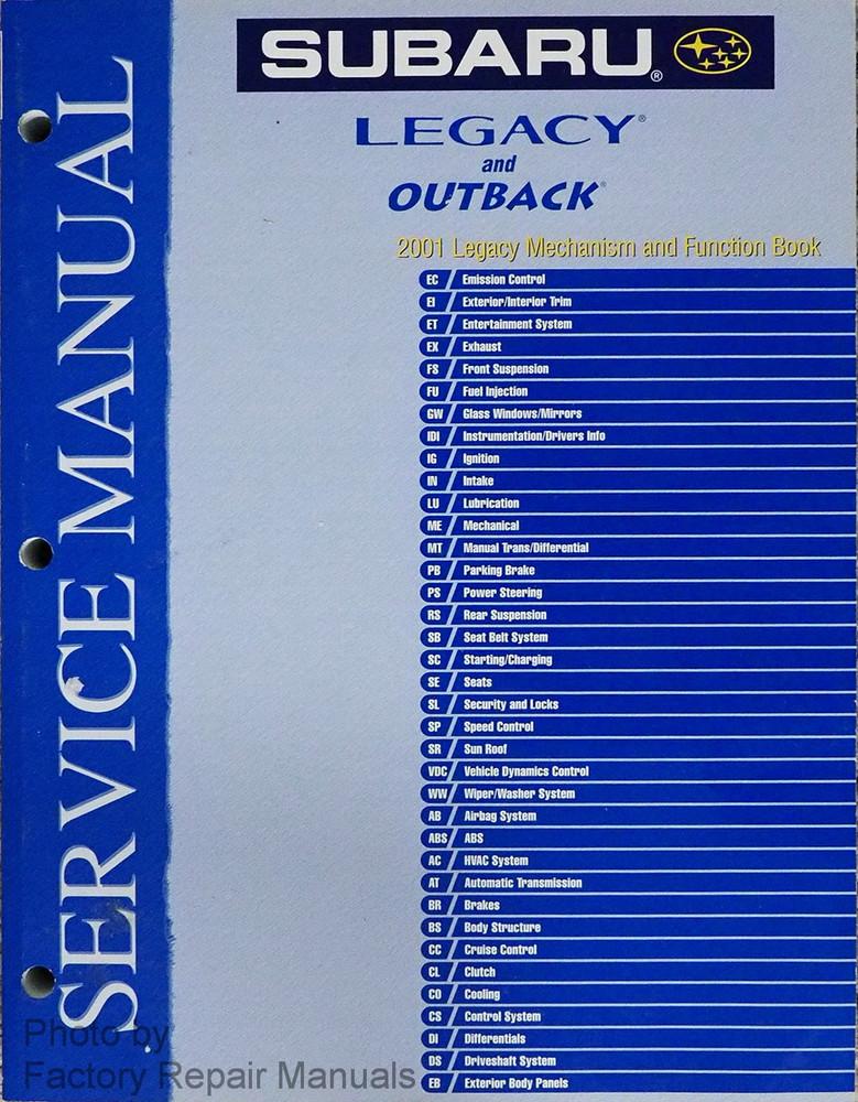2001 subaru legacy outback mechanism and function book original rh factoryrepairmanuals com 2001 subaru legacy service manual 2001 Legacy Problems