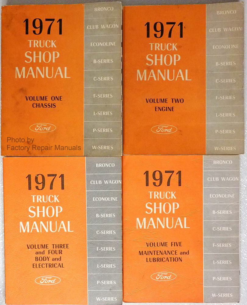 1971 ford truck van bronco bus factory service manual set original rh factoryrepairmanuals com 1971 ford f100 service manual 1976 Ford F100