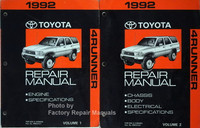 1992 Toyota 4Runner Repair Manual Volume 1 and 2