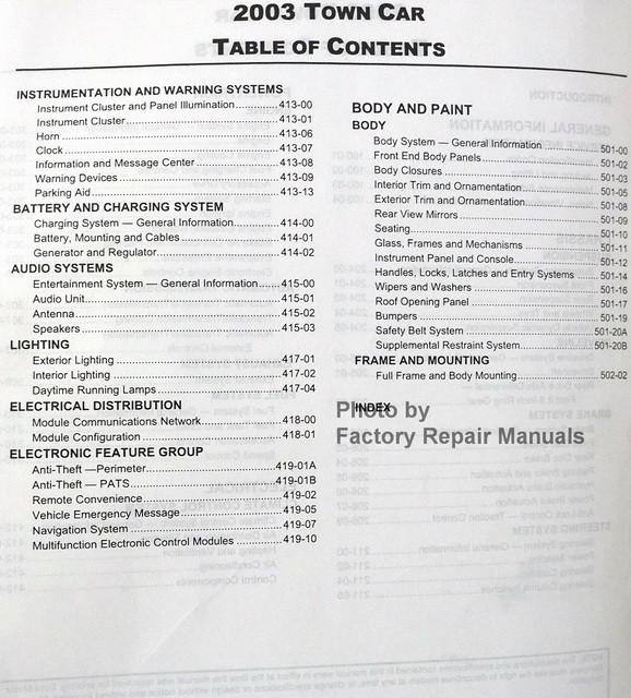 2003 lincoln town car factory service manual original shop repair factory repair manuals. Black Bedroom Furniture Sets. Home Design Ideas