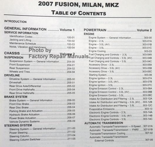2007 ford fusion mercury milan lincoln mkz factory shop service rh factoryrepairmanuals com 2007 ford fusion service manual pdf 2007 ford fusion owners manual pdf