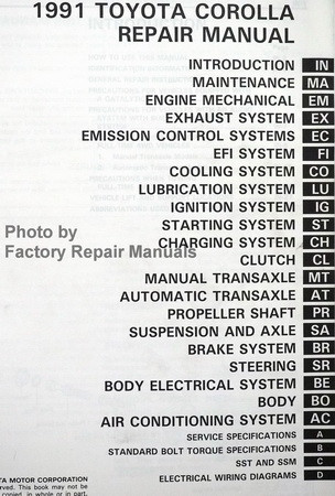 1991 toyota corolla factory service manual original shop repair rh factoryrepairmanuals com 1991 toyota corolla manual 1991 toyota corolla manual pdf