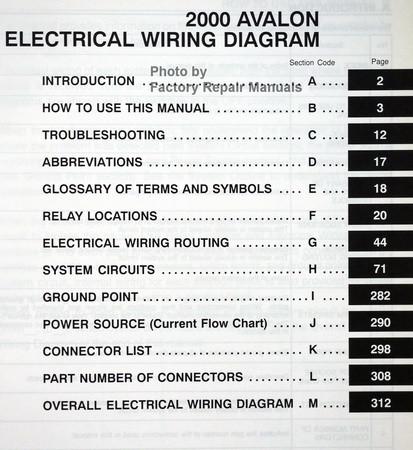 2000 toyota avalon electrical wiring diagrams original. Black Bedroom Furniture Sets. Home Design Ideas