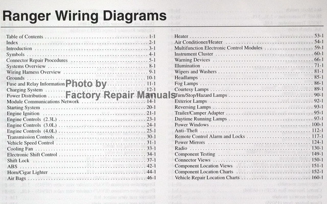 2003 Ford Ranger Pickup Truck Electrical Wiring Diagrams
