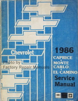 Chevrolet 1986 Caprice, Monte Carlo, El Camino Shop Manual