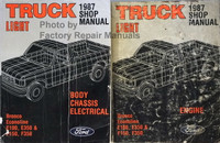 1987 Ford Light Duty Truck Factory Shop Manual Bronco Econoline E150, E250, E350 & F100, F250, F350 Volume 1, 2