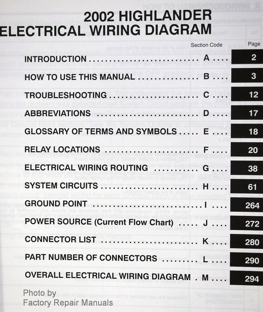 2002 Toyota Highlander Electrical Wiring Diagrams Original