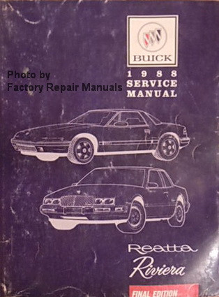 1988 Buick Riviera and Reatta Factory Service Manual Original Shop on internet of things diagrams, electrical diagrams, troubleshooting diagrams, snatch block diagrams, engine diagrams, honda motorcycle repair diagrams, battery diagrams, gmc fuse box diagrams, motor diagrams, hvac diagrams, led circuit diagrams, electronic circuit diagrams, pinout diagrams, lighting diagrams, transformer diagrams, smart car diagrams, friendship bracelet diagrams, series and parallel circuits diagrams, switch diagrams, sincgars radio configurations diagrams,