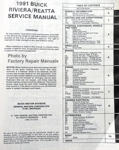1991 Buick Riviera and Reatta Factory Service Manual Original Shop ...