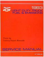 1993 Chevrolet Light Duty Truck, Van Fuel & Emissions Service Manual