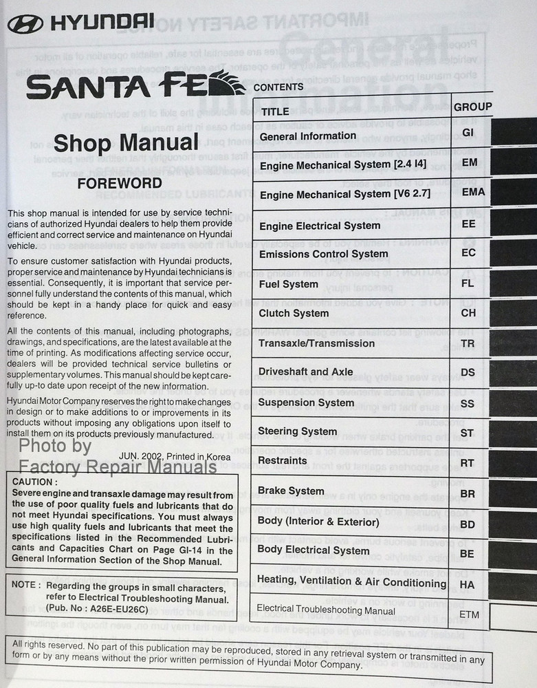 2003 hyundai santa fe factory service manual original shop repair rh factoryrepairmanuals com hyundai santa fe manual pdf hyundai santa fe manual 2014