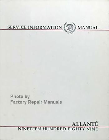 1989 cadillac allante factory service manual original shop repair rh factoryrepairmanuals com How Rare Is a 1989 Cadillac Allante 1991 Cadillac Allante Specifications