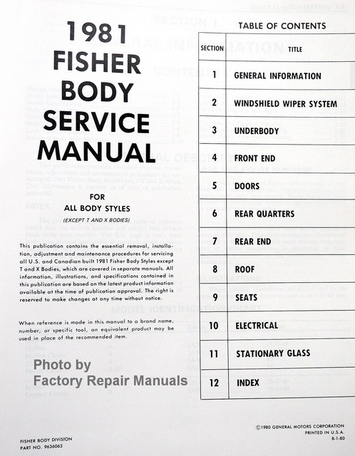 1981 gm fisher body service manual original shop repair. Black Bedroom Furniture Sets. Home Design Ideas