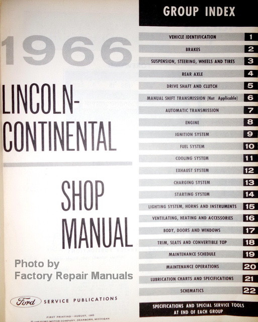 1966 lincoln continental factory shop manual original ford service rh factoryrepairmanuals com 1964 lincoln continental shop manual 1964 lincoln continental shop manual