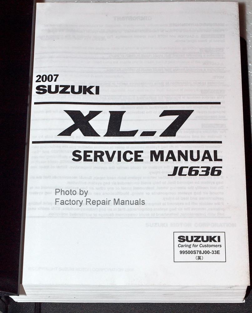 2007 suzuki xl7 factory service manual set jc636 original shop rh factoryrepairmanuals com 2007 suzuki sx4 service manual pdf suzuki liana 2007 service manual
