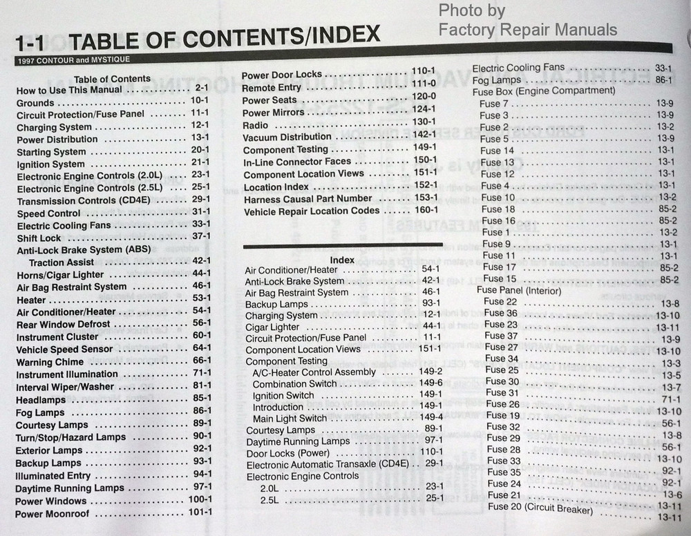 1997 ford contour mercury mystique electrical vacuum rh factoryrepairmanuals com 95 Ford Contour Repair Manual 95 Ford Contour Repair Manual