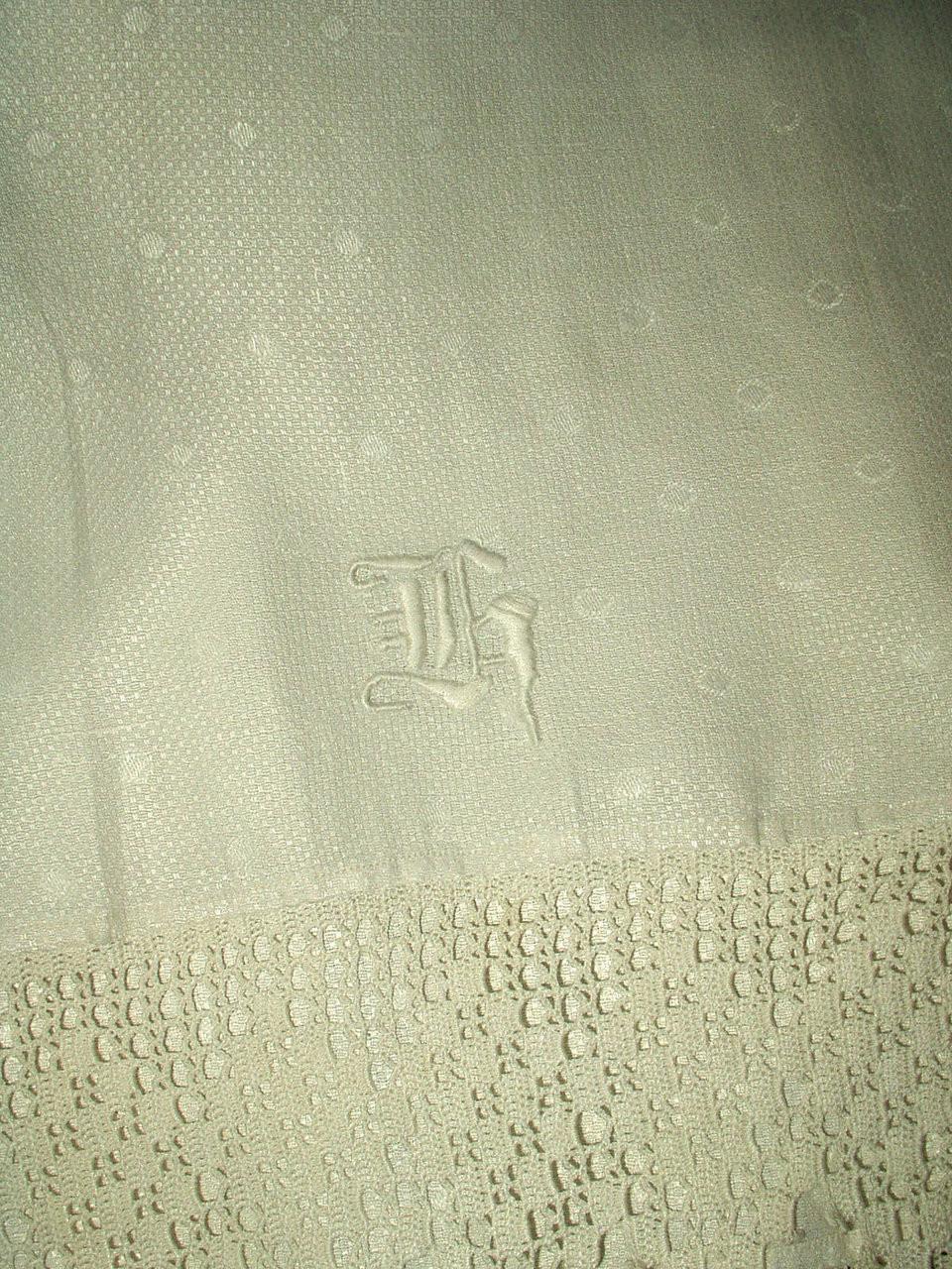 Edwardian Monogram K  Damask Hand Towel Hand Crochet Edging