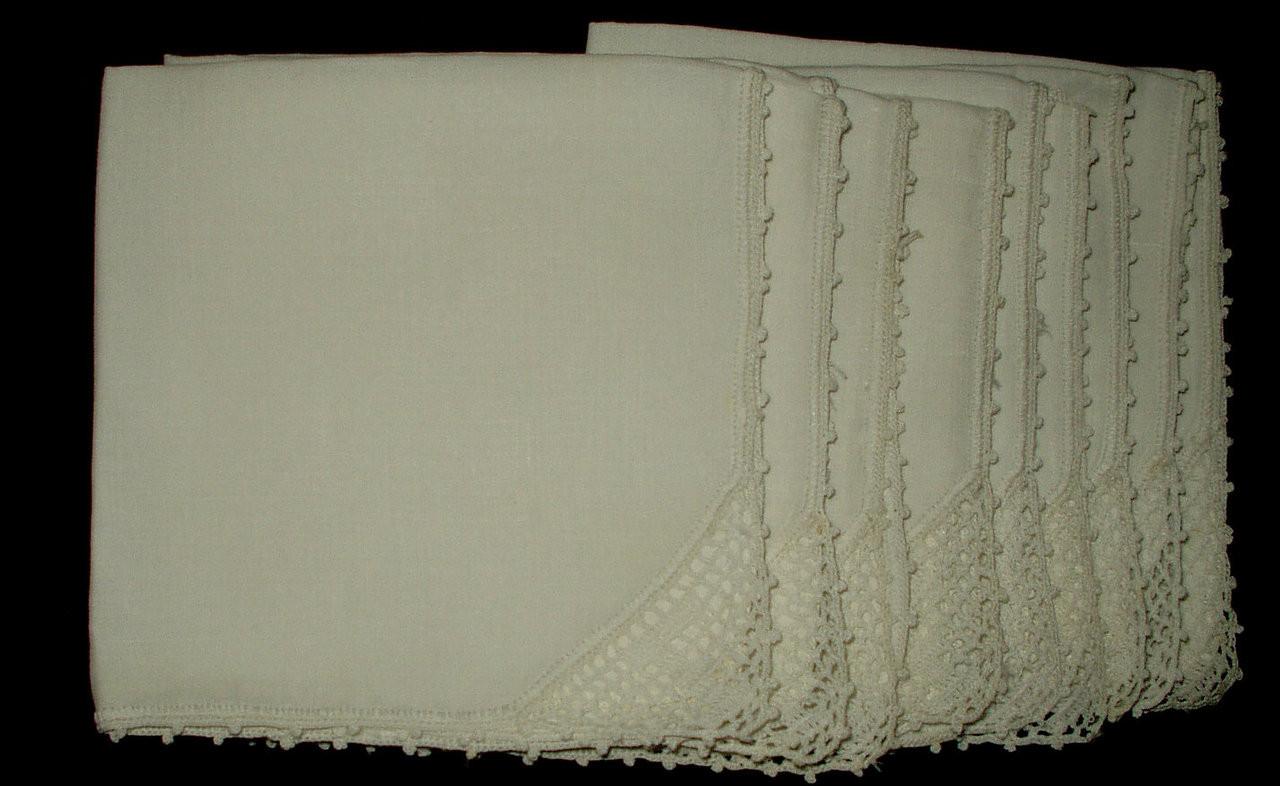 9 Vintage 1930 1950 Linen Luncheon Napkins Crochet Filet Monogram Letter F