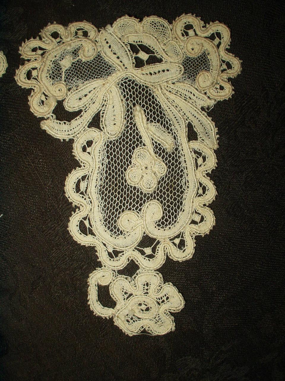 2 Victorian Tape Lace Tulle Dress Applique Embellishments Trim Pieces