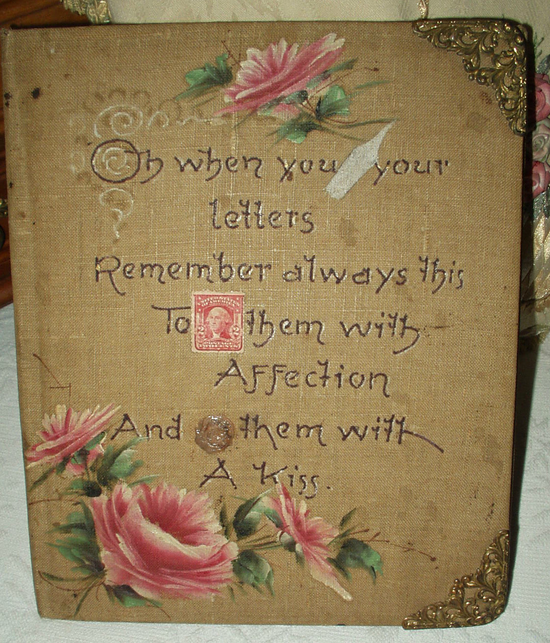 Victorian Edwardian Hand Painted Writing Supplies Notebook With Motto