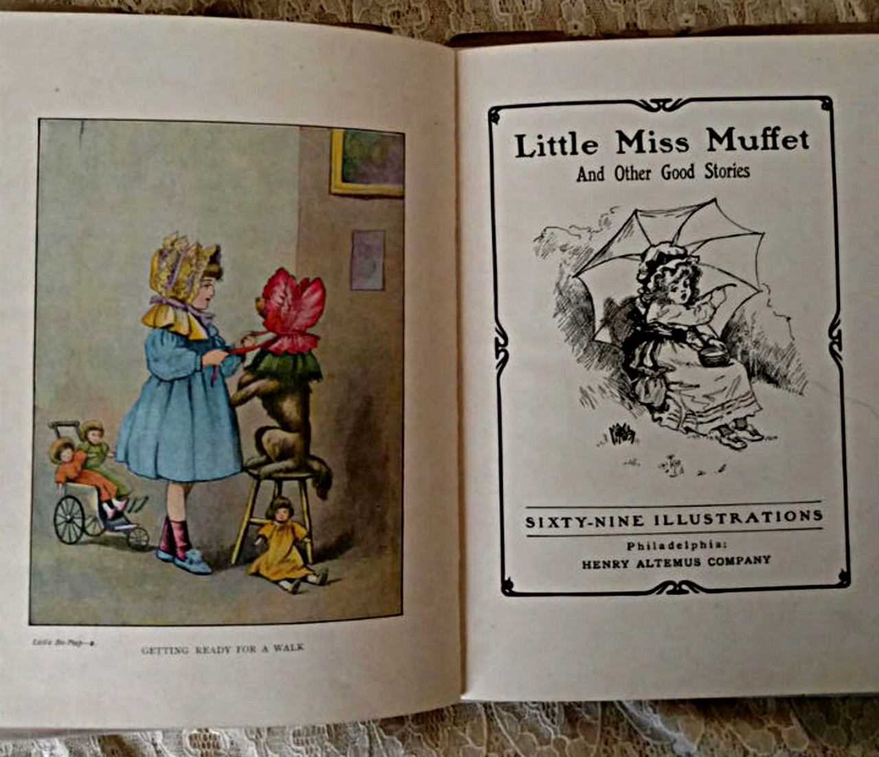 1905 Little Miss Muffet Storybook Henry Altemus With Dust Jacket Bo Peep Series